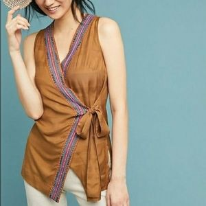 Anthropologie Maeve Brown Front Tie Wrap Blouse